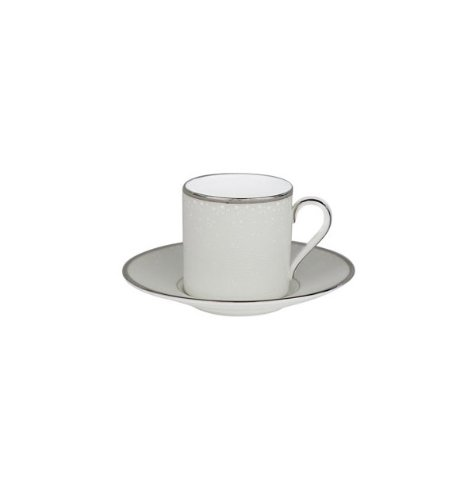 Waterford China Espresso Cups - Pointe D'Esprit 4 oz. Espresso Cup and Saucer Bowl (Set of 2)