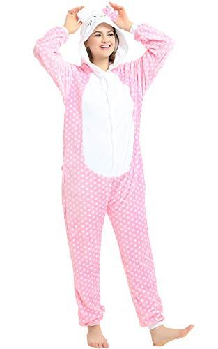 Indiefit Adults Onesie Pyjamas Flannel Animal Cosplay Costume Hoodie Sleepwear Nightgown pink hello Kitty-M -