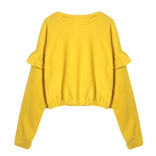URIBAKE Fashion Womens Solid Long Sleeve O-Neck Sweatshirt Ruffled Causal Tops ()