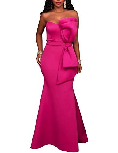 One Mujeres Lrud Sin Shoulder Vestidos Elegante Cinturón Maxi Rosa Off Prom Noche wAqftaq