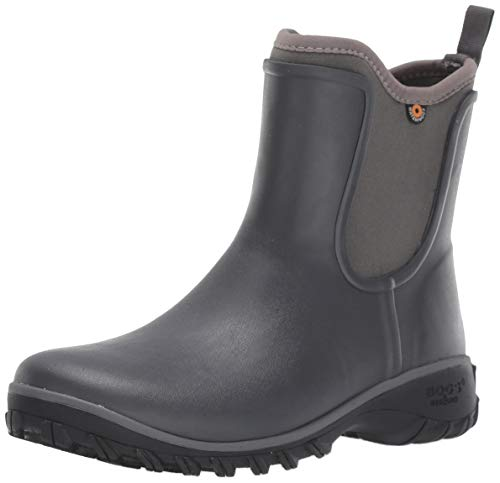 BOGS Women's Sauvie Slip On Boot Waterproof Garden Rain, Dark Gray, 9 M US