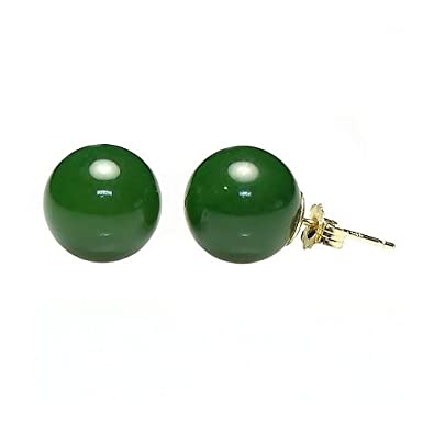 Trustmark 14K Yellow Gold 10mm Natural Nephrite Green Jade Ball Stud Post Earrings