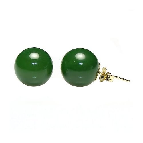 - Trustmark 14K Yellow Gold 12mm Natural Nephrite Green Jade Ball Stud Post Earrings