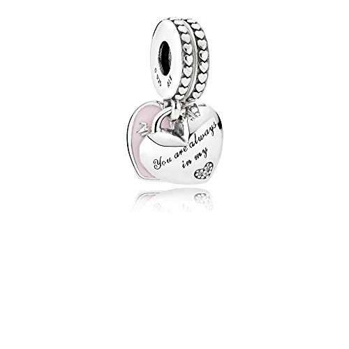 Pandora Mother & Daughter Hearts Silver & Pink Dangle Charm 792072EN40 ()