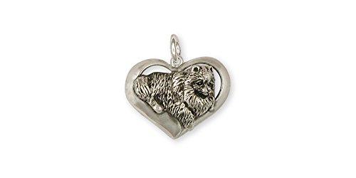 (Pomeranian Jewelry Sterling Silver Pomeranian Charm Handmade Dog Jewelry PM13-C)