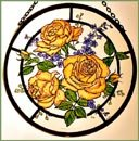 Decorative Hand Painted Stained Glass Window Sun Catcher/Roundel in a Golden Roses Design. GoldRosesround