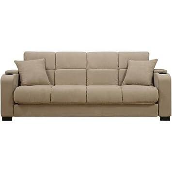 Amazoncom Tyler Tan Microfiber Storage Arm Convertacouch Sofa