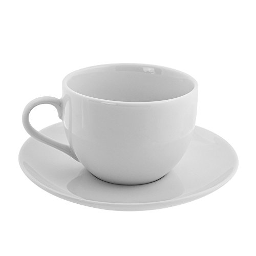 10 Strawberry Street Classic Coupe 8 Oz Cup and Saucer, Set of 6, - Coupe White