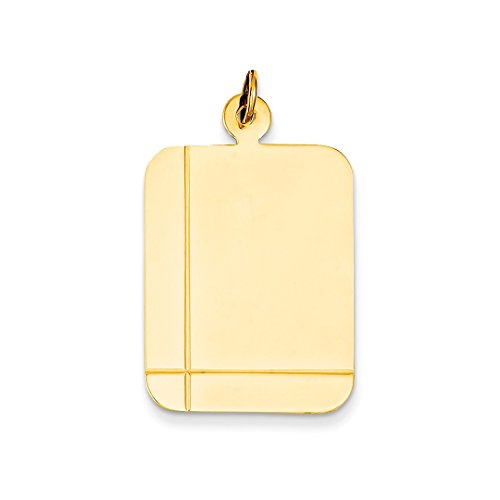 ICE CARATS 14k Yellow Gold Plain Rectangular .035 Gauge Engravable Disc Pendant Charm Necklace Square Rectangle Fine Jewelry Gift Set For Women Heart
