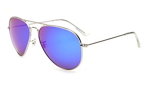 Laura Fairy Metal Frame Mirrored Polarized Unisex Aviator Sunglasses-blue silver (Track Frame Leader)