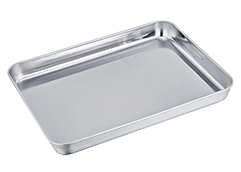 TeamFar Stainless Steel Compact Toaster Oven Pan Tray Ovenware Professional, 8''x10''x1'', Heavy Duty & Healthy, Deep Edge, Superior Mirror Finish, Dishwasher - Stainless Steel Jelly Roll