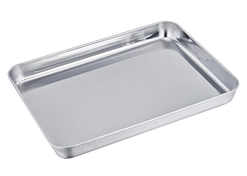 TeamFar Stainless Steel Compact Toaster Oven Pan Tray Ovenware Professional, 8''x10''x1'', Heavy Duty & Healthy, Deep Edge, Superior Mirror Finish, Dishwasher Safe (Small Toaster Oven Bakeware compare prices)