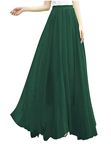 v28 Women Full/Ankle Length Elastic Retro Maxi Chiffon Long Skirt (3X,Jungle)