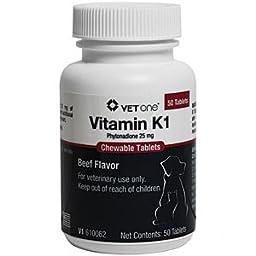Vet One Vitamin K1 Chewable Tablets, Phytonadione 25mg, 50 Beef Flavor Tablets
