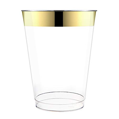 Fancy Disposable Clear Gold Rim Plastic 7oz Cup Tumbler For Wedding Party Wine 48 count