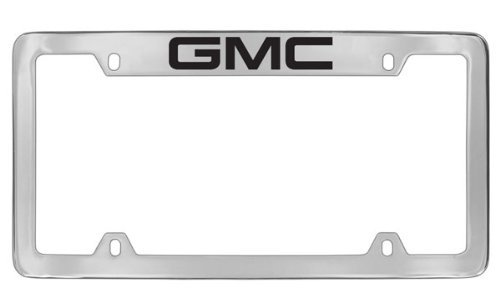 GMC Logo Chrome Plated Metal Top Engraved License Plate Frame Holder