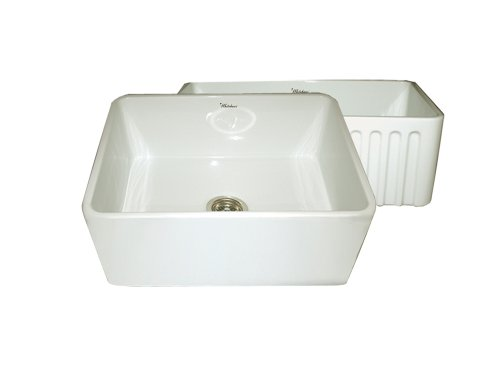 Whitehaus Home Indoor Farmhouse Kitchen Bathroom Reversible Series Fireclay Sink With Smooth Front Apron One Side And Fluted Front Apron On Opposite Side WHFLPLN2418-Biscuit