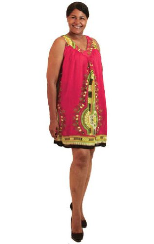 Short Traditional African Dashiki Print Rayon Sundress Sun Dress - Available in Many Colors (Fuschia)