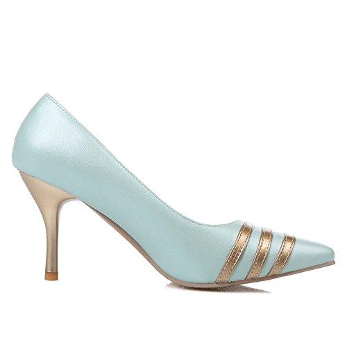 LongFengMa Women Stieltto Pumps Kitten Heels Pointed Toe Dress Shoes Wedding Party Office Shoes Blue kMxUo