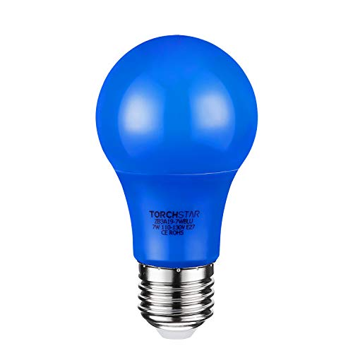 TORCHSTAR 7W Blue LED A19 Colored Light Bulb, E26/E27 Base, for Parties, Celebrations, Commemorative Activities, 30,000hrs