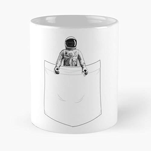 Astronaut Pocket Fake False Black And White Space Art - Best 11 oz Coffee Mug Cheap Gift -