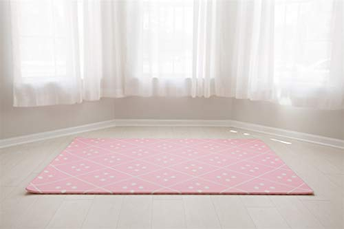 Baby Play Mat | One-Piece Reversible Foam Floor Mat | Large | Eco-Friendly | Extra Soft | Non-Toxic | Baby | Toddlers | Kids (Pink Dash + Diamond, Large)