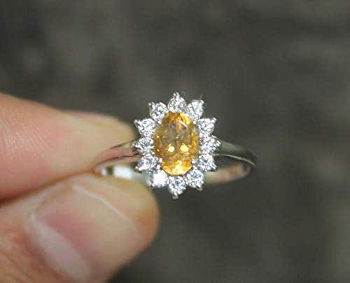 Citrine ring sterling silver promise ring oval cut stone