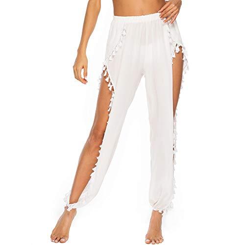 (BINLIANG Women Sexy Sheer Beach Swim Coverups Pant Bikini Swimsuit Bottom Cover up Trouser Wrap (Small(US 4-6), White Tassel Long 2))