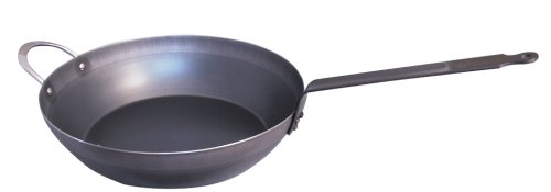 De Buyer Professional 32 cm Blued Iron Force Blue Country Frypan with Riveted Handle 5314.32 (De Buyer Mineral B Country Fry Pan)