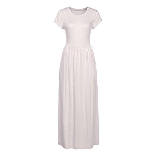 Vestido maxi de manga corta para mujer, estilo Saihui, color liso, suelto, estilo informal, longitud del suelo, vestidos largos con bolsillos extra-large ...