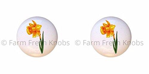 SET OF 2 KNOBS - Daffodil - Flower Favorites - DECORATIVE Glossy CERAMIC Cupboard Cabinet PULLS Dresser Drawer KNOBS