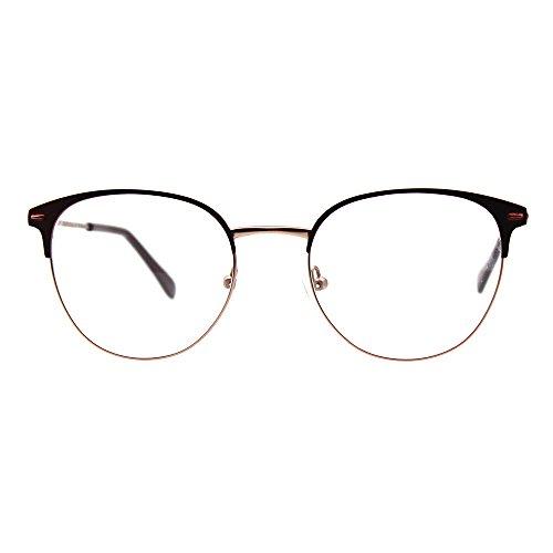 Round Optical Eyewear Metal Prescription Eyeglasses Frame for Women and Men (wine)