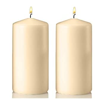 """Set Of 4 Unscented 6 Inch Tall 3 Thick 36 Hour Clean /"""" Vanilla Pillar Candles"""
