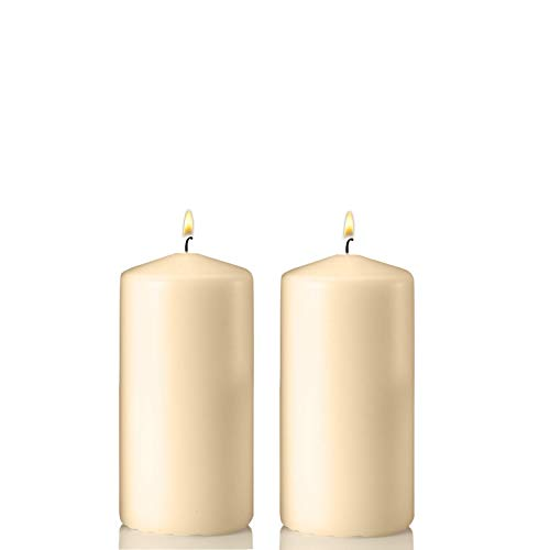 Light Pillar Candles - Set of 2 Scented Candles - 6 inch Tall, 3 inch Thick - 36 Hour Clean Burn Time (French Vanilla)