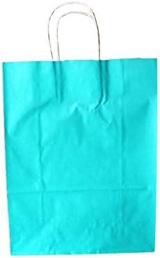Papiertragetaschen mit weißer Kordel Farbe: HELLBLAU/TOPAS 32 + 17x 43 cm (100 Stück)