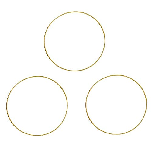 Fasdu 3Pcs 12 inches Gold Metal Ring Metal Dream Catcher Dreamcatcher Ring Macrame Craft Wreath Christmas Hoops Brass Floral Ring