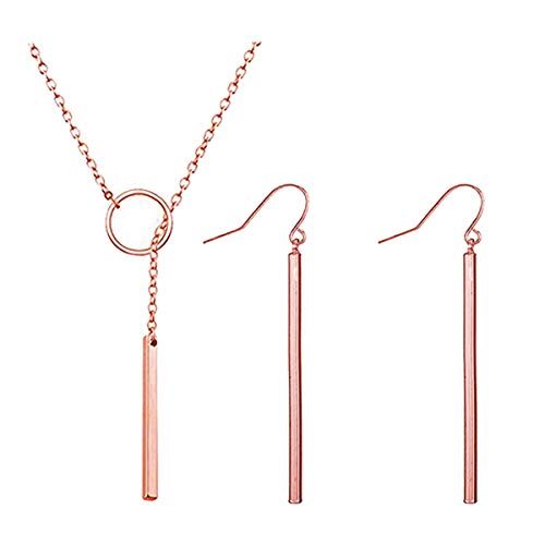- Dcfywl731 Punk Simple Style Gold/Silver Plated Lightning Long Exaggerated Square Geometric Stick Drop Dangle Earring for Women Jewelry (Rose Gold)