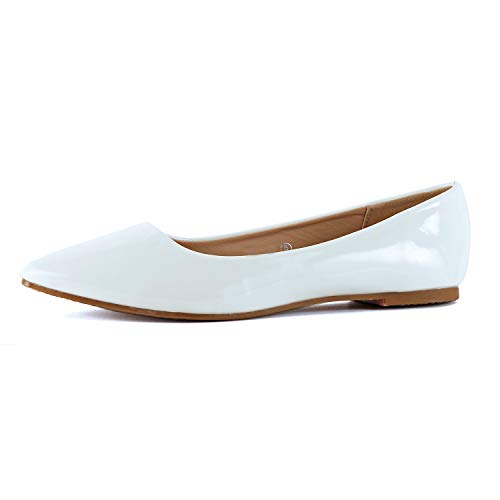 Guilty Shoes Womens Classic Pointy Toe Ballet Slip On - Casual Comfortable Flats (8 M US, White - Comfortable Flats Ballet