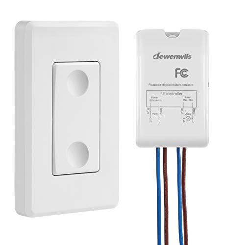 - DEWENWILS Wireless Light Switch and Receiver Kit, Wall Switch Remote Control Lighting Fixture for Ceiling Lights, Fans, Lamps, No In-wall Wiring Required, 100 Ft RF Range, Programmable