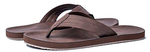 Viihahn Men's Sandals Flip Flops Extra Large Size Arch Support Slippers Brown wLFs44