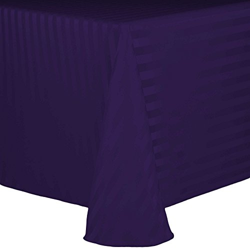 Purple Satin Stripe - Ultimate Textile Satin-Stripe 108 x 132-Inch Oval Tablecloth Purple