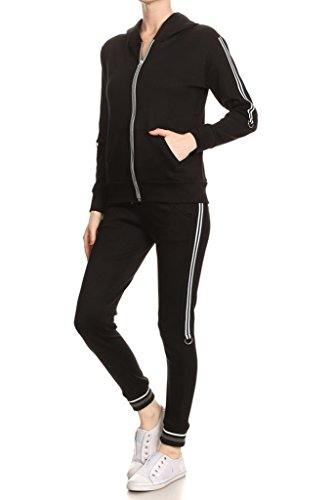Trim Velour Hoodie Jacket (GLJ Women's Solid Knit Tracksuit Set, Zip Up Hoodie Long Sleeves Waist Pockets)