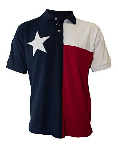Tiger Hill Men's Texas Flag Polo Shirt (Medium)