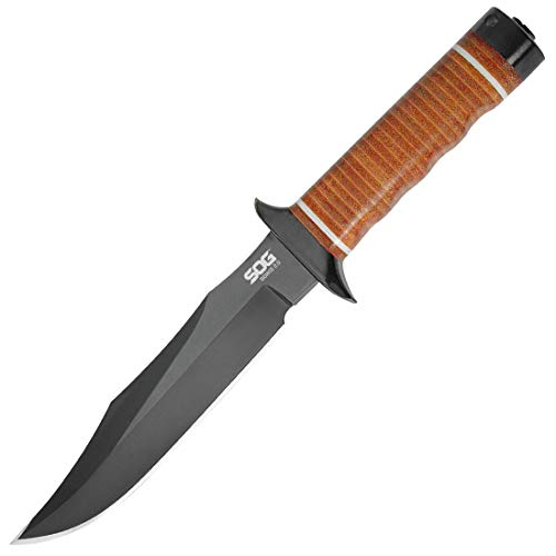 """SOG Fixed Blade Knives with Sheath – """"Bowie 2.0"""" S1T-L Bowie Knife Tactical Knife Survival Knife w/ 6.4"""" Hunting Knife Blade + Leather Knife Sheath"""