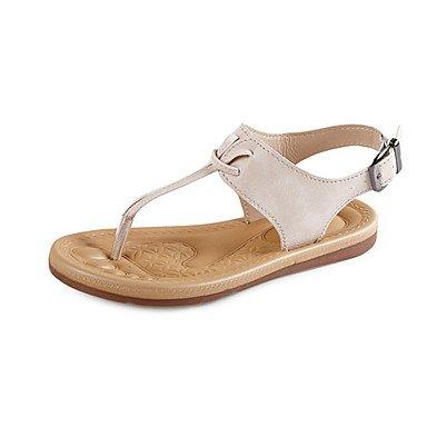 LvYuan Mujer-Tacón Plano-Confort-Sandalias-Vestido Informal-PU-Marrón Beige beige