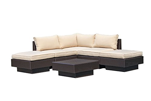 Santa Barbara 6 Piece Outdoor Rattan Wicker Sofa Sectional Sets - Perfect Patio, Deck, Porch and Sunroom Furniture Set - Long Lasting Comfort - Deep Seating Sofas with Cushions (Beige) (Round Wicker Outdoor Setting)