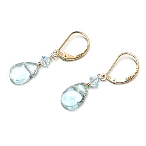 Lab Grown Aqua Quartz 12x8mm Briolette Lever Back Earrings Swarovski Crystal Gold-Filled