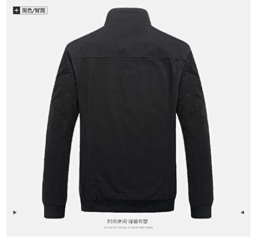 Basamento Outwear Nero Giacca Cotone Collare Lavato Solido Uomini Militare Del Angelspace gtIwSxtAq