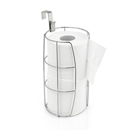 EtechMart Over The Tank Toilet Paper Roll Holder Storage w/ Metal Hanging Hook