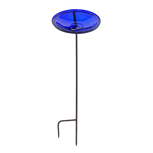 Achla Crackle Glass - Achla Designs Crackle Glass Birdbath Bowl with Stake, 14-in, Cobalt Blue